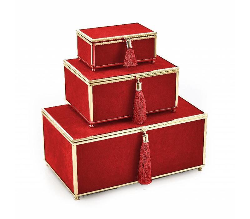 Red Velveteen Set of 3 Boxes