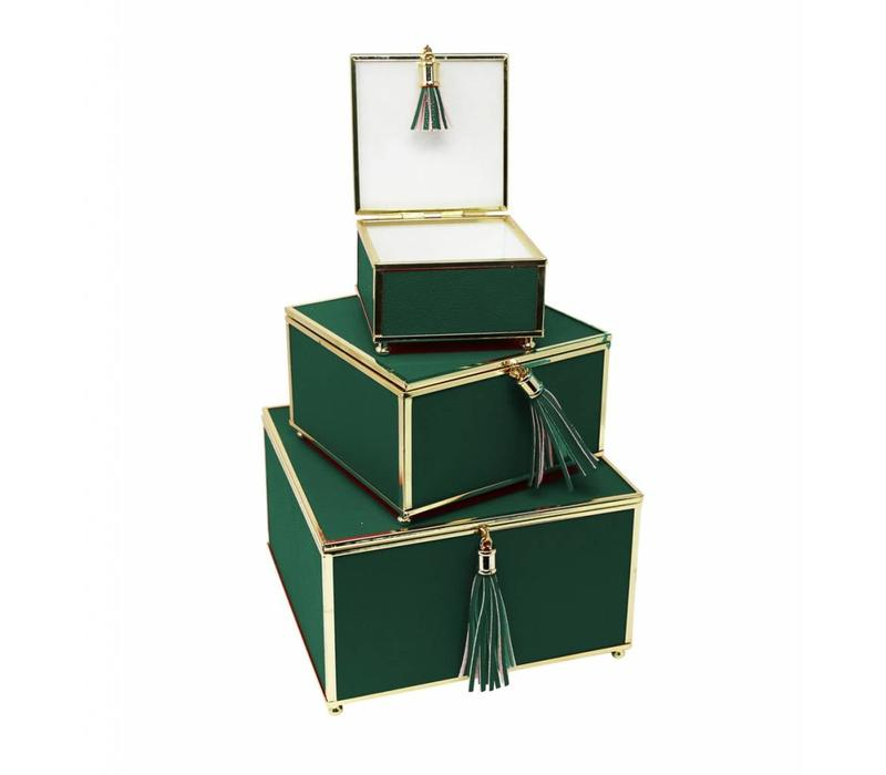 Green Square Boxes - Set of 3