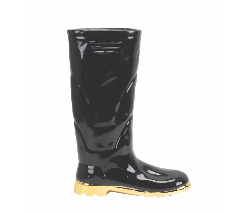 "Black Boot Vase - 9.5"""