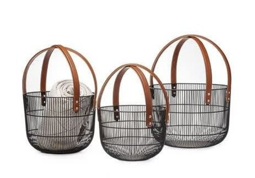 Mission Wire Faux Leather Basket medium