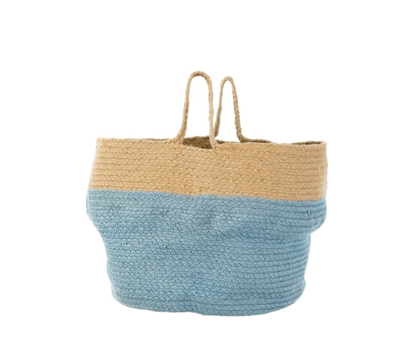 Jute Belly Basket Blue