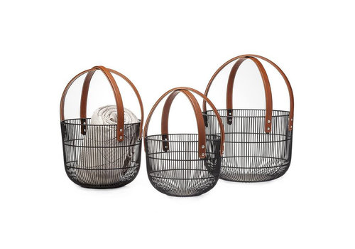 Mission Wire Faux Leather Basket L