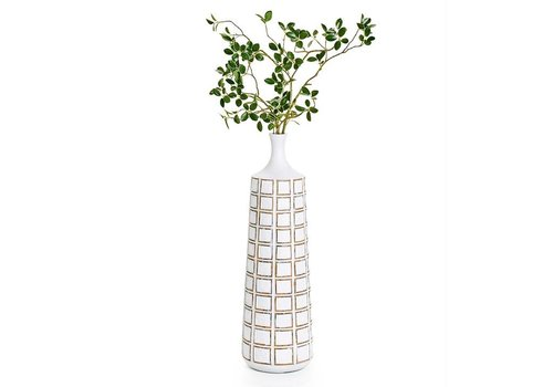 Attica Square Grid Floor Vase White M
