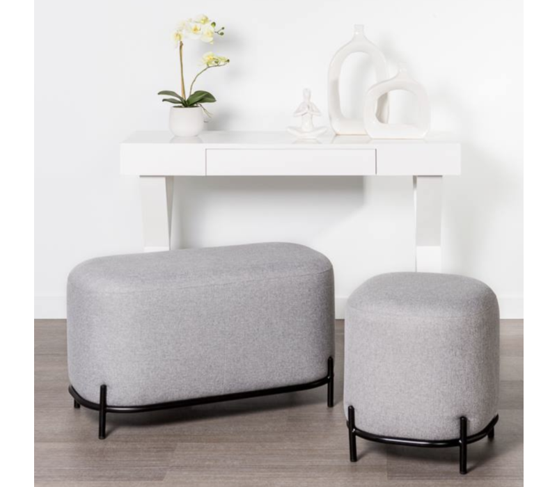 Pender Pin Leg Upholstered Stool Grey
