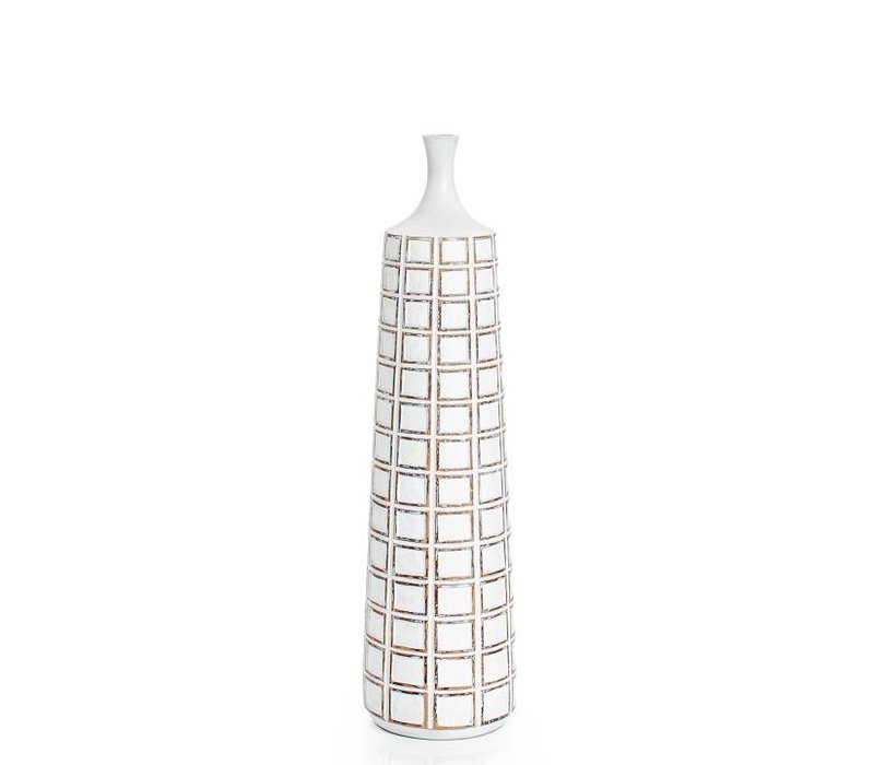 Attica Square Grid Floor Vase White Tall
