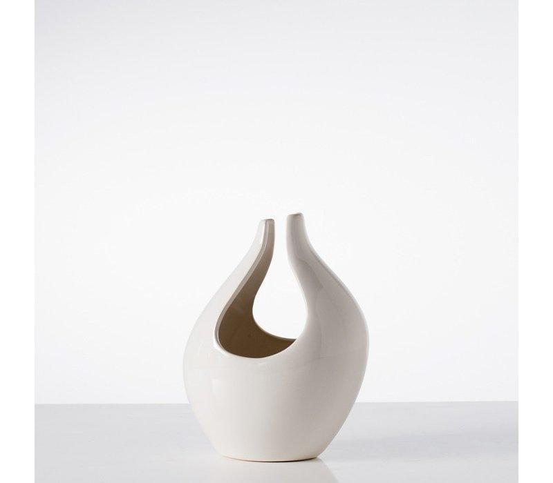 Kira Short Vase White
