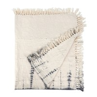 Shibori Fringe Throw indigo