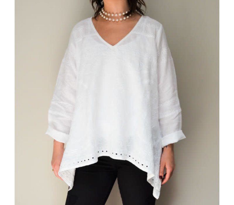 Emilie Embrodered Top, White - M