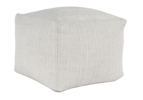 Heirloom Linen Ivory Pouf 18x18x14