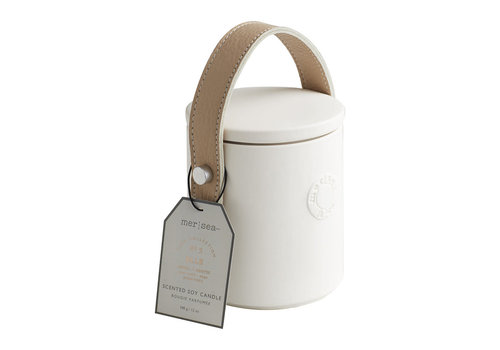 Luxe Cowhair Candle w/Beige leather handle - Elle