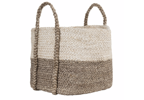 Large Jute Basket Ivory/Gray