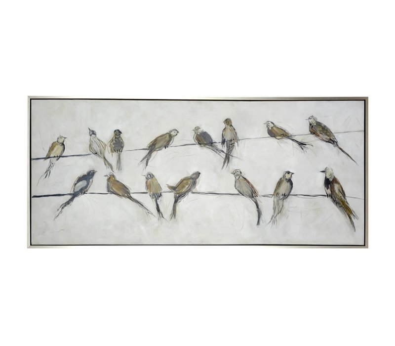 Birds on Wire Framed Canvas