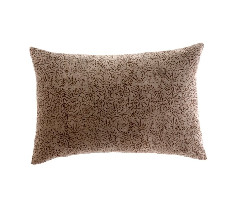 "Printed Velvet Pillow Coffee 16x24"""