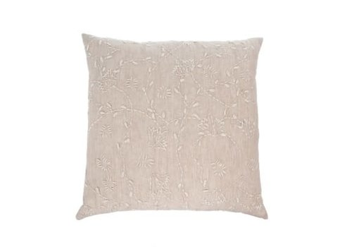 Linen Vines Cushion Taupe 20X20""