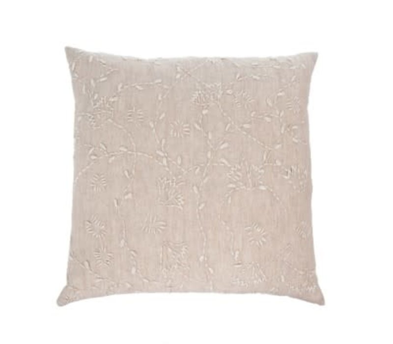 20x20 Linen Vines Cushion -Taupe