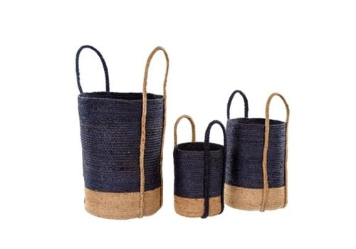 Gibson Jute Basket Navy Medium