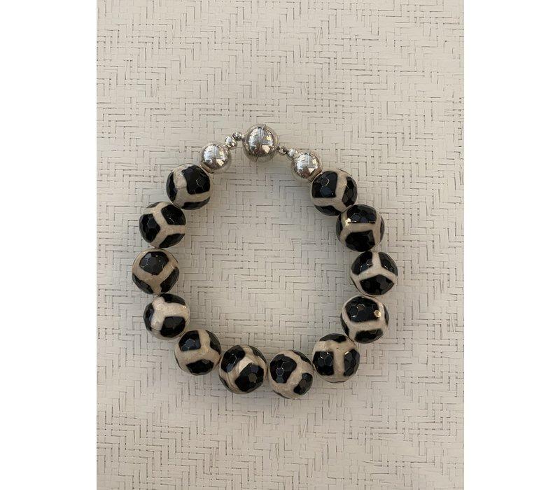 Agate Ball Bracelet - Black_Flax