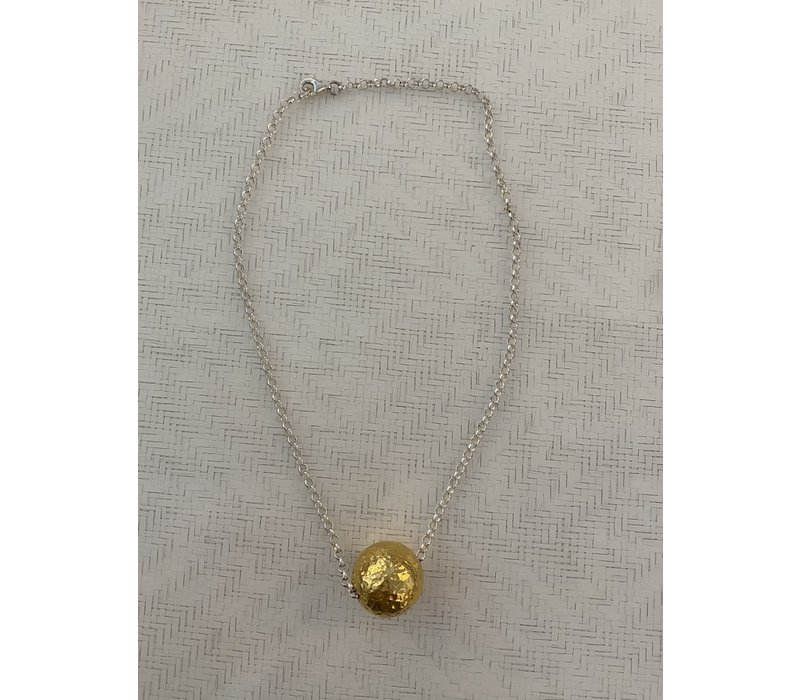 Gold Ball on Sterling Silver Chain