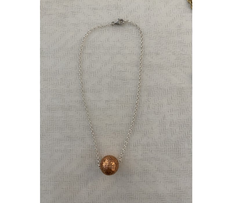 Bronze Ball on Sterling Silver Chain