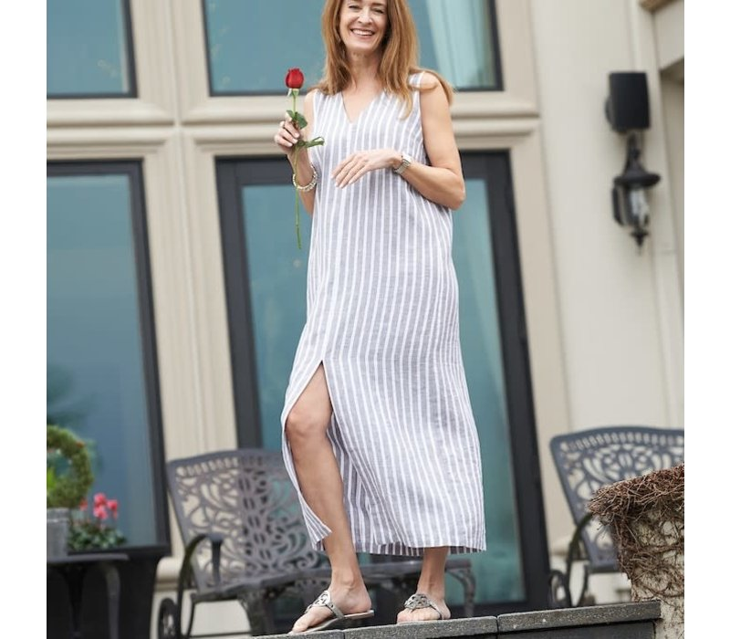 Olivia Dress Grey Stripe  XS