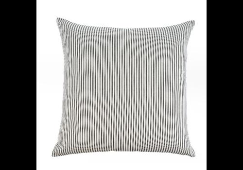 24x24 Ticking Cushion Black