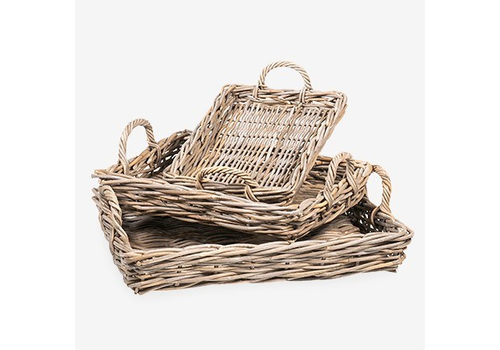 Mona Rectangular Rattan Tray Large