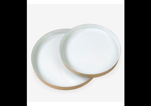 "Round Brass Tray Enamel Seafoam 15.8"" Large"