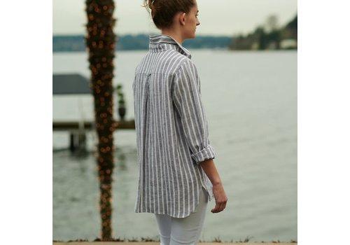 Cameron Shirt - M - Gray Stripe