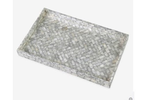 Orion Herringbone Striped Capiz Tray Silver Grey