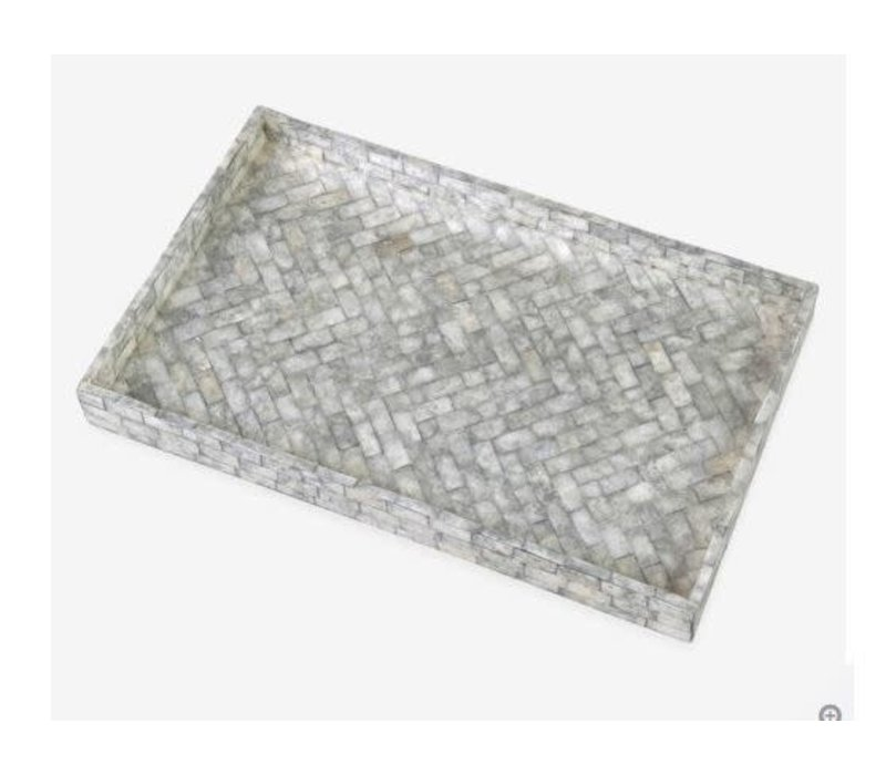 Orion Herringbone Striped Capiz Tray Silver Grey