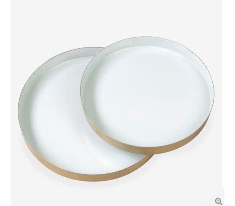 """Round Brass Tray Enamel Seafoam 13.8"""" Small"""
