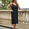 Basic Slip Dress Adjustable Straps Black XS