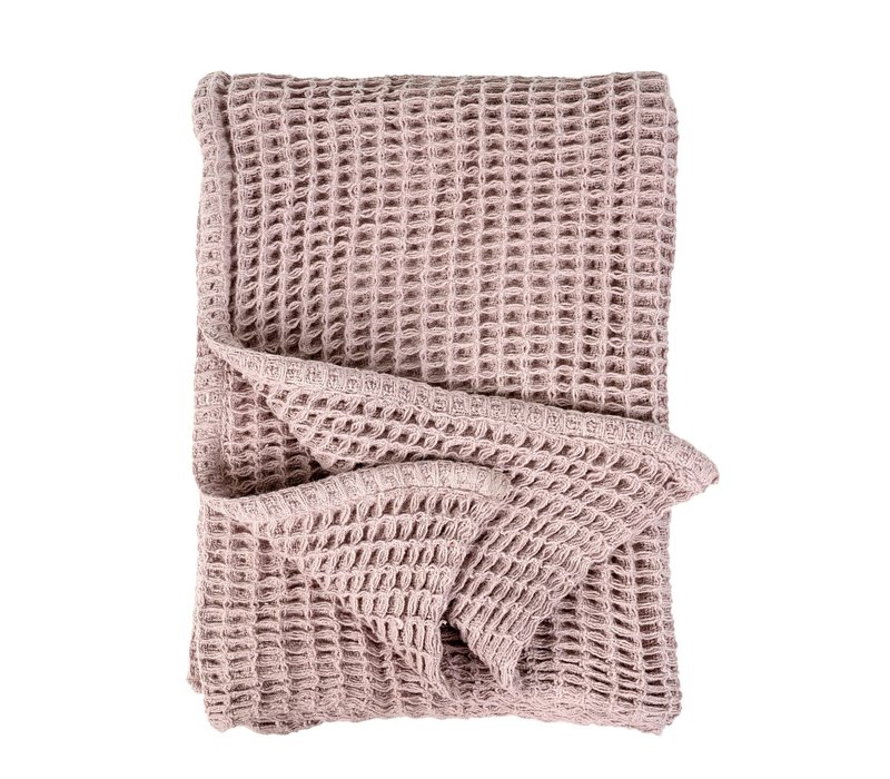 Waffle Woven Throw Pink