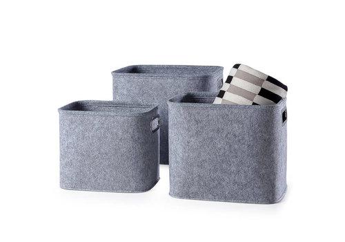 Felt Storage Tote Light Grey Medium