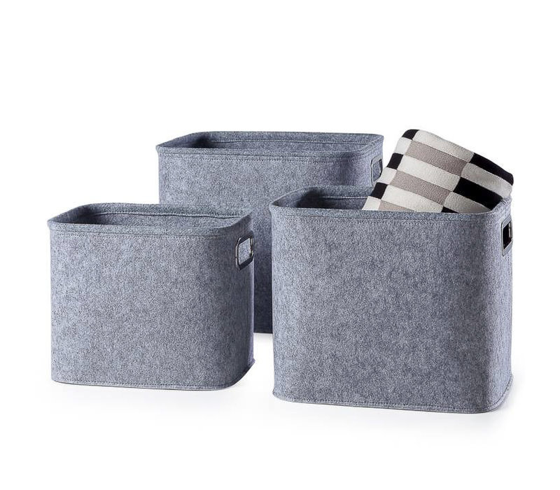 Felt Storage Tote Light Grey Medium