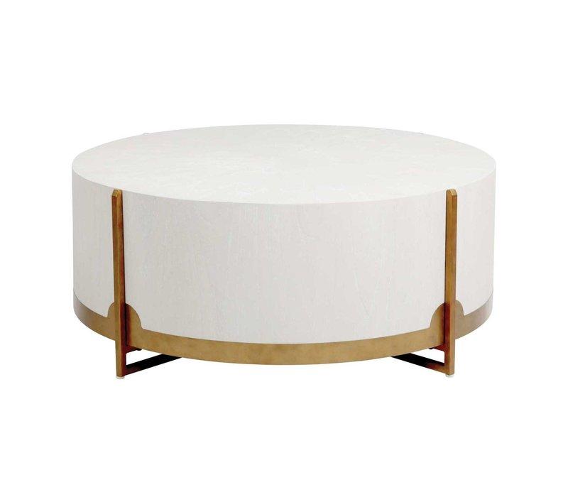 "Clifton Coffee Table-White Cerused Oak 48""diam."