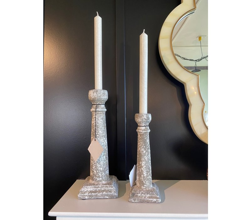Ceramic Candlestick White Moss Small