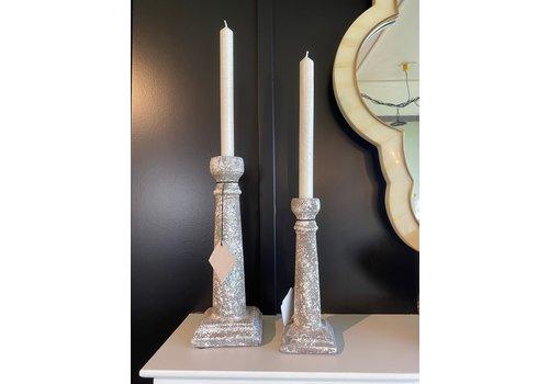Ceramic Candlestick White Moss Medium