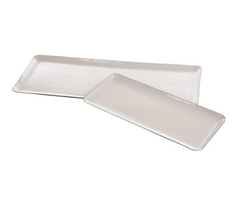 Enamel Plate White & Grey Large