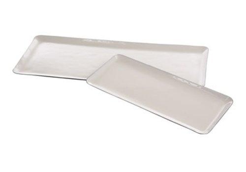 Enamel Plate White & Grey Small