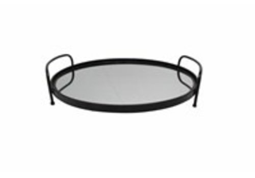Iron & Glass Serving Tray Black