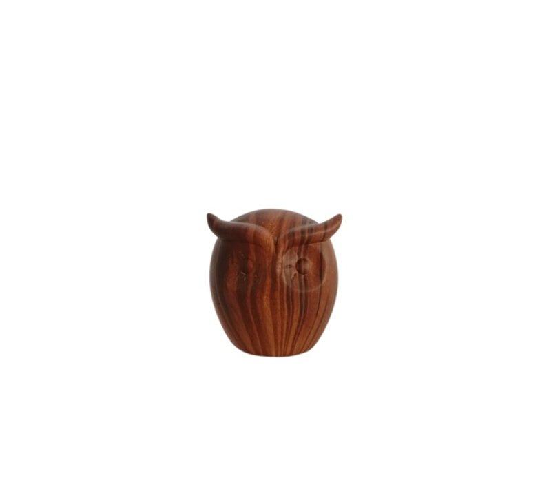 Ceramic Faux Walnut Grain Owl Medium