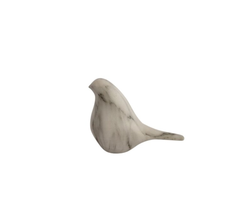 Ceramic Faux White Marble Bird Head Up