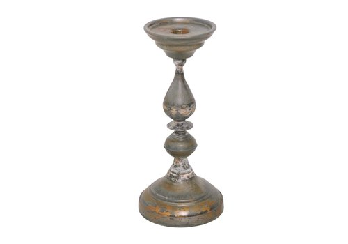Galvanised Iron Candlestick Raw Metal Finish Large