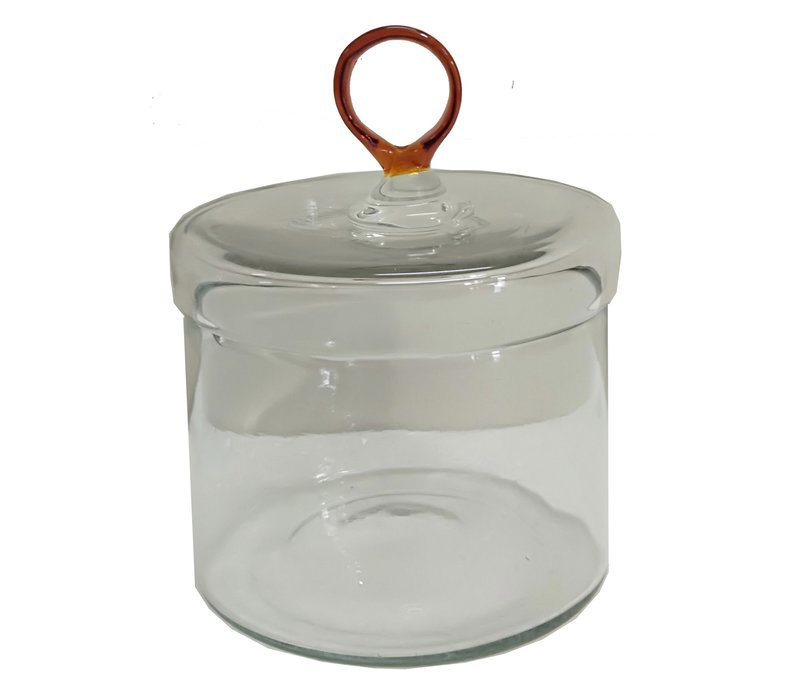 Glass Canister with Amber Handle Small