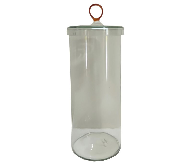 Glass Canister with Amber Handle Large