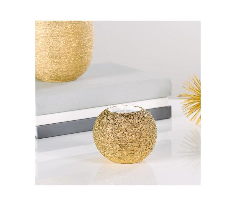 """Brava Gold Spun Textured Tealight Holder 4x3""""H"""
