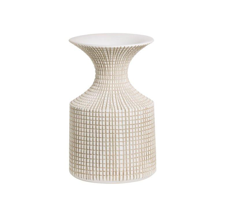 "Capstan Resin Neck Vase White 13.5""H"