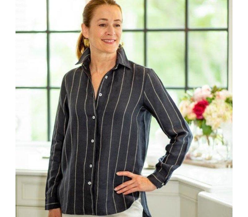 Cameron Shirt Navy Taupe Stripe XSmall