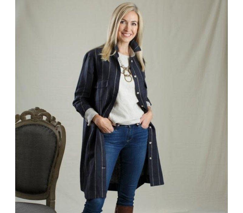 Madison Shirt Dress Navy Taupe Stripe Small